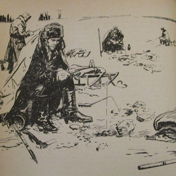 Zdeněk Burian, Rybáři na ledu, ilustrace knihy Rudolfa Luskače